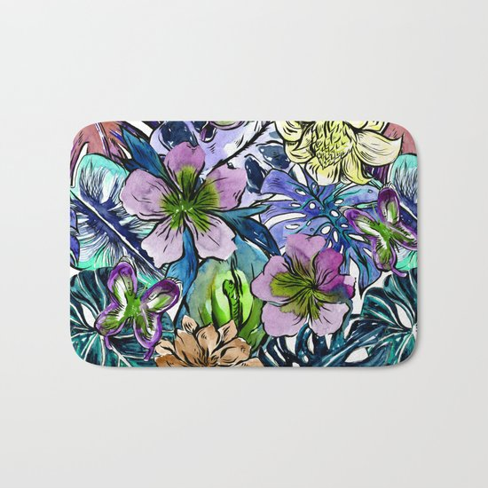Tropical Blue Flower Hibiscus Garden Bath Mat