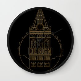 Oakland is Design (Black & Gold) Wall Clock