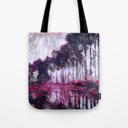 Monet Poplars on the Banks of the River Epte Purple Magenta Tote Bag