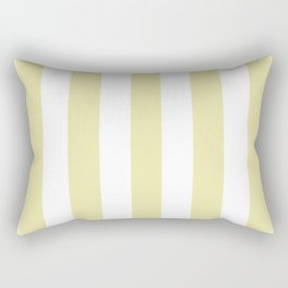 Pale goldenrod beige - solid color - white vertical lines pattern Rectangular Pillow