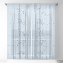 Continuous Line Weimaraners (Blue-Grey Background) Sheer Curtain