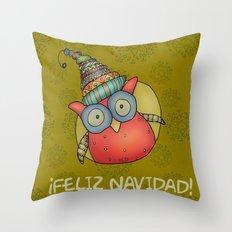 Puki Owl - mustard Throw Pillow