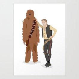 Han Solo and Chewbacca Art Print