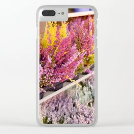 shelves with blooming heather Clear iPhone Case