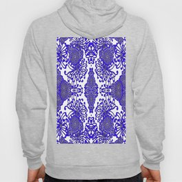 Vintage Blue-Purple  White Floral Spider Mums Art Hoody
