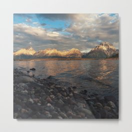 First Light on the Tetons and Jackson Lake Metal Print