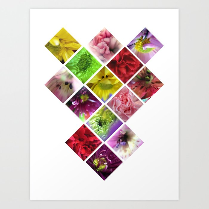 Geometry Flowers Art Print