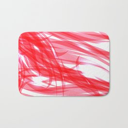 Red and smooth sparkling lines of pink ribbons on the theme of space and abstraction. Bath Mat