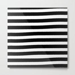 Brushy Stripes - Black Metal Print