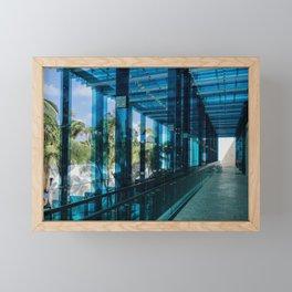 Blue reflected lights in Miami Design District Framed Mini Art Print