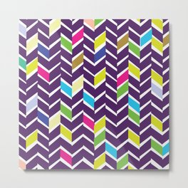 purple chevrons Metal Print
