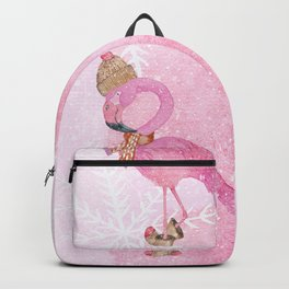 Winter Woodland Stranger- Cute Flamingo Bird Snowy Forest Illustration Backpack