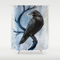 raven Shower Curtains featuring raven by Black Fury