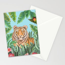 Tropical tiger jungle, tropical flowers Stationery Cards