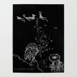 Two Tailed Duck and Jellyfish Black and Dark Deep Sea Poster