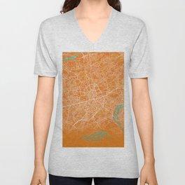 Essen, Germany, Gold, Blue, City, Map Unisex V-Neck