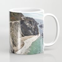 big sur Mugs featuring Big Sur Bridge by The Aerial Photography Shop