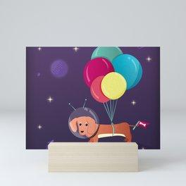 Galaxy Dog with balloons Mini Art Print