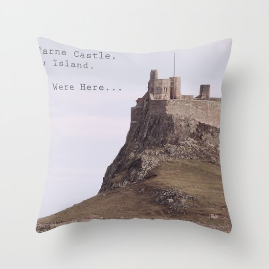postcard from lindisfarne castle... Throw Pillow