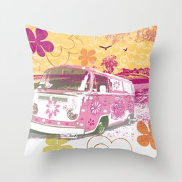 girl camper Throw Pillow