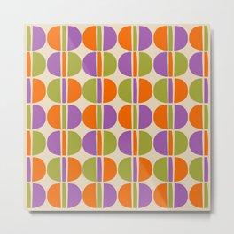 Mid Century Modern Geometric Pattern 151 Beige Orange Olive and Purple Metal Print