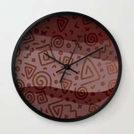 ETHNO PATTERN Modern | red Wall Clock