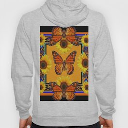 Western Black & Orange Monarch Butterflies  Sunflower Patterns Art Hoody