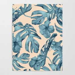 Island Vacay Hibiscus Palm Pale Coral Teal Blue Poster