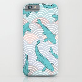 Koi carp. Blue fish. Asian wave circle background iPhone Case