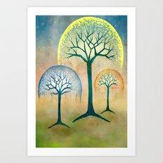 Waterfall Willows Art Print