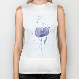 Blue Poppy flower illustration painting in watercolor Biker Tank