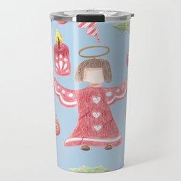 Retro angel pattern Holidays design Travel Mug