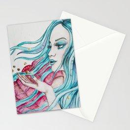 Watercolor mermaid fantasy art Stationery Cards