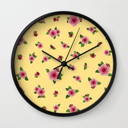 Lovely Pink Roses - yellow Wall Clock