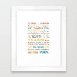 On Children: Kahlil Gibran Quote Typography Print Framed Art Print