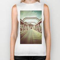 bridge Biker Tanks featuring Bridge by César Ovalle