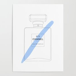 blue paint stroke perfume Poster