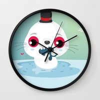 seal Wall Clocks featuring Seal by Maria Jose Da Luz
