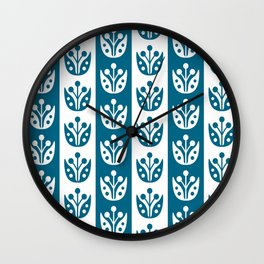 Mid Century Modern Flower Stripes Pattern Peacock Blue Wall Clock