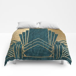 Art Deco glamour - teal and gold Comforters