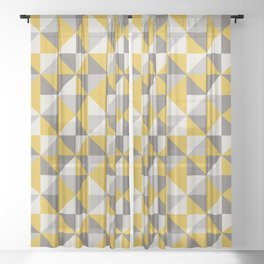 Retro Triangle Pattern in Yellow and Grey Sheer Curtain