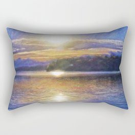 Sun Rising Over Lake - Art Edit Rectangular Pillow