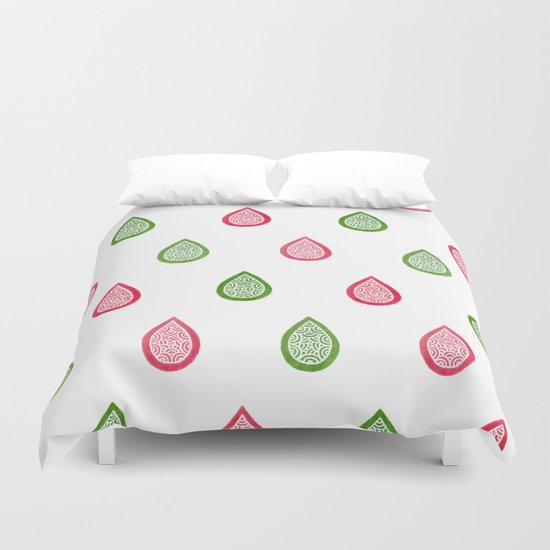 Pink and green raindrops Duvet Cover