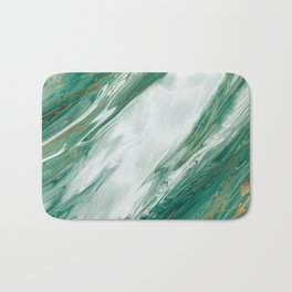 Emerald Jade Green Gold Accented Painted Marble Bath Mat