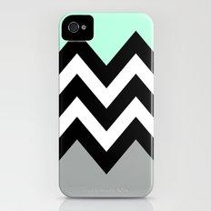 DOUBLE COLORBLOCK CHEVRON {MINT/BLACK/GRAY} Slim Case iPhone (4, 4s)