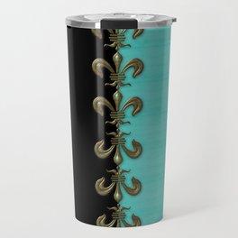 Turquoise Fleur-de-lis  Travel Mug