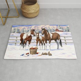 Bay Pinto Paint Horses In Snow Rug