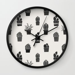 Southwestern Stamped Potted Cactus + Succulents Wall Clock