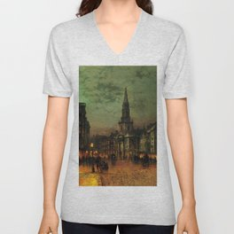 Classical Masterpiece 'Blackman Street, London' by John Atkinson Grimshaw Unisex V-Neck