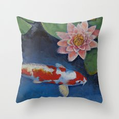 Koi and Water Lily Throw Pillow